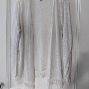 White with lace bottom cardigan